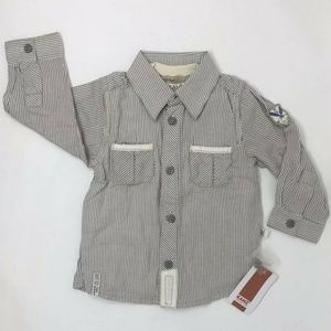 Kanz Baby Boys Brown & Ivory Button-down Shirt NEW